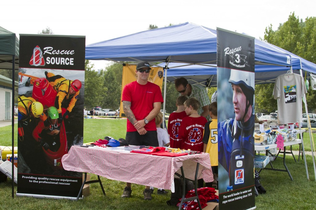 Austin Nickell manning the Rescue 3 booth at the American River Festival 2011