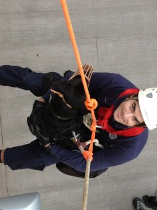 Practicing technical animal vertical lifts on the side of a building
