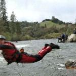action shot of river rescue training in coloma, California
